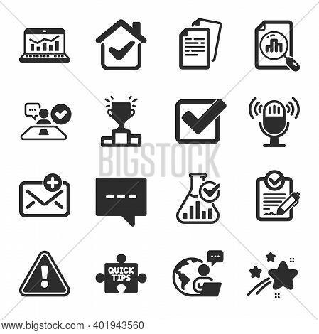 Set Of Education Icons, Such As Winner Podium, Job Interview, Rfp Symbols. Blog, Analytics Graph, Ch