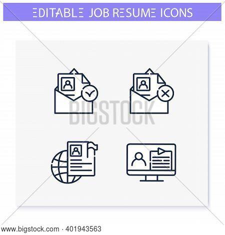 Job Resume Line Icons Set. Cv Document. Email, Video, International Resume And More. Career Biograph