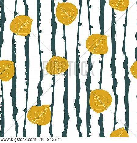Golden Aspen Leaf Forest Seamless Vector Pattern Background. Beautiful Hand Drawn Leaves In Fall Col