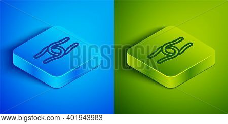 Isometric Line Rope Tied In A Knot Icon Isolated On Blue And Green Background. Square Button. Vector