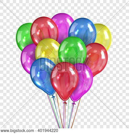 Bundle Of Gel Colored Beads Isolated On Transparent Background. Colored Balloons For Birthday And Pa