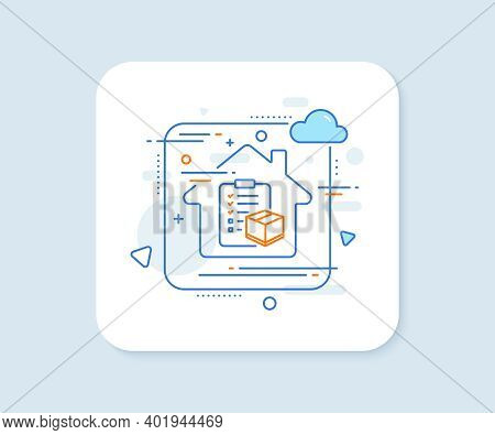 Parcel Checklist Line Icon. Abstract Vector Button. Logistics Check Sign. Package Control Symbol. Pa