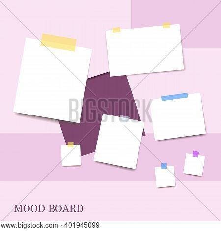 Sticky Notes Violet Shades Color Mood Board Template. Decorative Office Memos Pad, Pins, Sticky Note