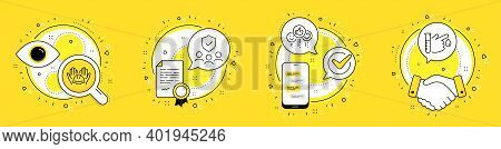 Like, Builders Union And People Insurance Line Icons Set. Licence, Cell Phone And Deal Vector Icons.
