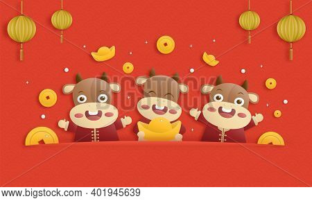 2021 Happy Chinese New Year Paper Cutting Greeting Card, Year Of The Ox Design With 3 Little Cute Co