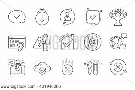 Travel Luggage, Creativity And Person Info Line Icons Set. 5g Internet, Reject Refresh And Approved