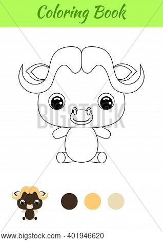Coloring Book Little Baby Musk-ox Sitting. Coloring Page For Kids. Educational Activity For Preschoo