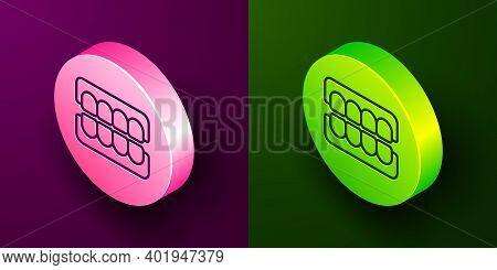 Isometric Line False Jaw Icon Isolated On Purple And Green Background. Dental Jaw Or Dentures, False