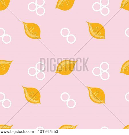 Seamless Geometric Pattern With Yellow Lemon And White Circles On A Pink Background. Vector Illustra