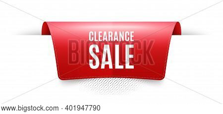 Clearance Sale Symbol. Red Ribbon Label Tag. Special Offer Price Sign. Advertising Discounts Symbol.