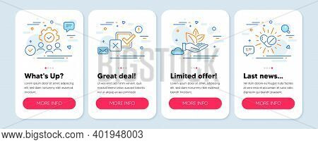 Set Of Line Icons, Such As Organic Product, Checkbox, Teamwork Symbols. Mobile Screen Mockup Banners