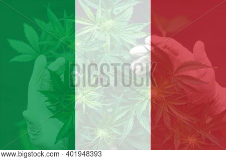 Leaf Of Cannabis Marijuana On The Flag Of Italy. Weed Decriminalization In Italy. Medical Cannabis I