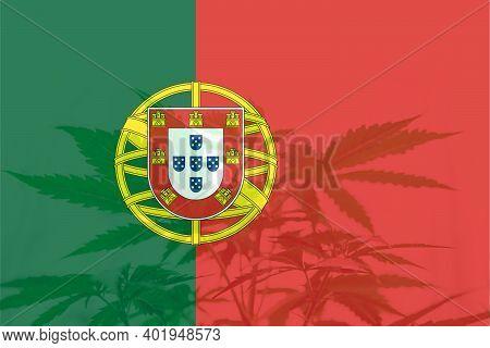 Weed Decriminalization In Portugal. Medical Cannabis In The Portugal. Leaf Of Cannabis Marijuana On
