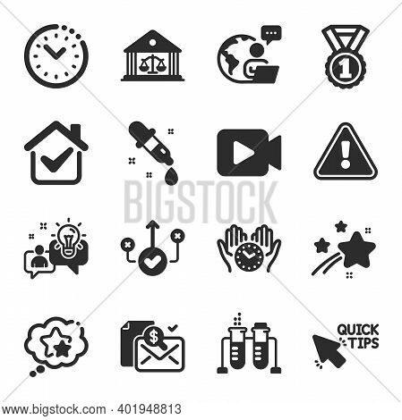Set Of Education Icons, Such As Chemistry Beaker, Video Camera, Idea Symbols. Quick Tips, Safe Time,