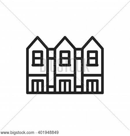 Townhouse Color Line Icon. Isolated Vector Element.