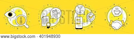 Champagne, Cocktail And Love Champagne Line Icons Set. Licence, Cell Phone And Deal Vector Icons. Co