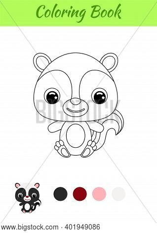 Coloring Book Little Baby Skunk Sitting. Coloring Page For Kids. Educational Activity For Preschool
