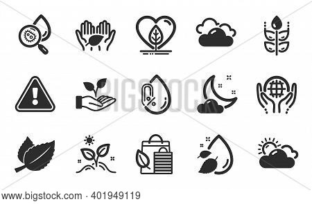 Night Weather, Organic Tested And Helping Hand Icons Simple Set. Bio Shopping, Gluten Free And Fair