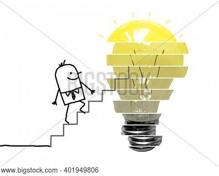 Hand drawn Cartoon Businessman Climbing up Levels to a Lightening Bulb - Collage