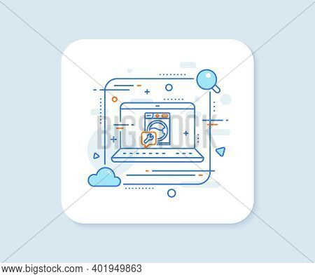 Spanner Tool Line Icon. Abstract Vector Button. Washing Machine Repair Service Sign. Washing Machine
