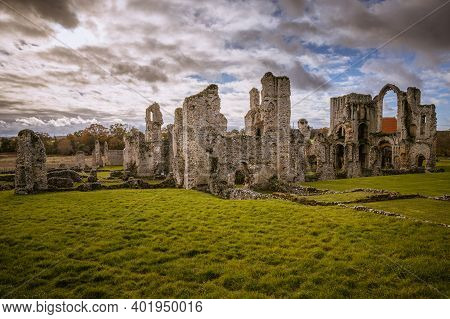 Castle Acre Priory Ruins On Cloudy Morning