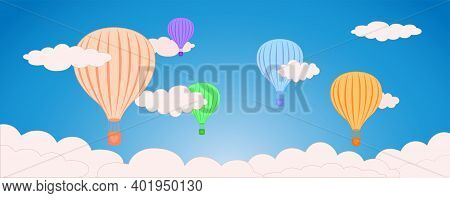 Air Ballon And Cloud In The Blue Sky, Vector Banner Flat Style Design Elements Illustration