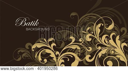Colorful Floral Batik Background. Floral Decoration Curls Illustration. Paisley Print Hand-drawn Ele