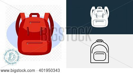 Backpack. Rucksack. Knapsack. Schoolbag. Sack Isolated Vector Icon. Line, Solid Design Element