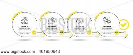 Arena, Electric Plug And Loan Percent Line Icons Set. Timeline Process Infograph. Work Sign. Sport S