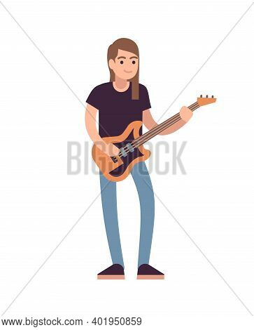 Rock Or Pop Musician With Guitar. Guitarist Musical Performance, Male Artist Standing In Casual Clot