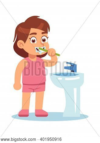 Girl Brushing Teeth. Cute Child In Bathroom Morning And Evening Routine, Dental Care With Toothbrush