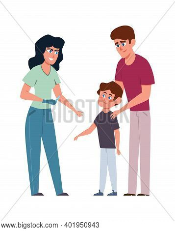 Kids Vaccination. Female Doctor And Little Boy With Father In Medical Clinic, Pediatrician Consultat