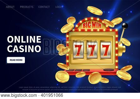 Online Casino Landing Page. Slot Machine Gamble Poster, Gambling Promotional Banner With Flying Gold