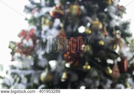 Christmas Tree Ornaments Defocused Lights Background, Stock Photo