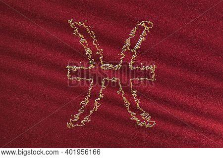 Pisces Zodiac Sign, Horoscope Astrology Background, Pisces Horoscope Symbol, Red Background, Gold Ho