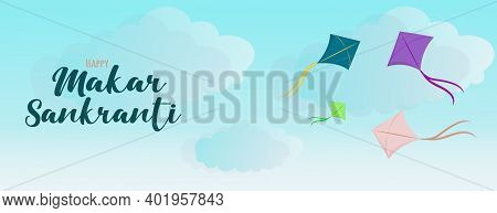 Happy Makar Sankranti Banner Background Design With Illustration Of Bright Colorful Kites With Bow T