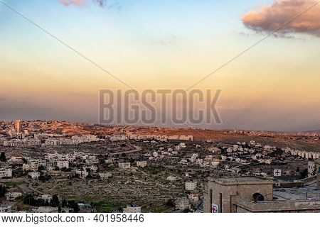 Bethlehem, Israel, December 09, 2020 : View Of Bethlehem And Its Suburbs From The Roof Of A Tall Bui