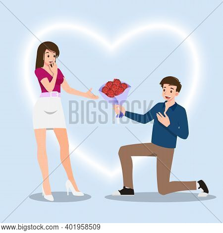 A Man Kneeling To Give Roses Flowers To Women. The Designed In Romantic Concept Of People Giving Lov