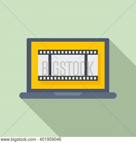 Video Edit Laptop Icon. Flat Illustration Of Video Edit Laptop Vector Icon For Web Design