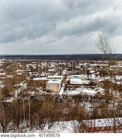 Outskirts Of A Russian City On A Gloomy Winter Day