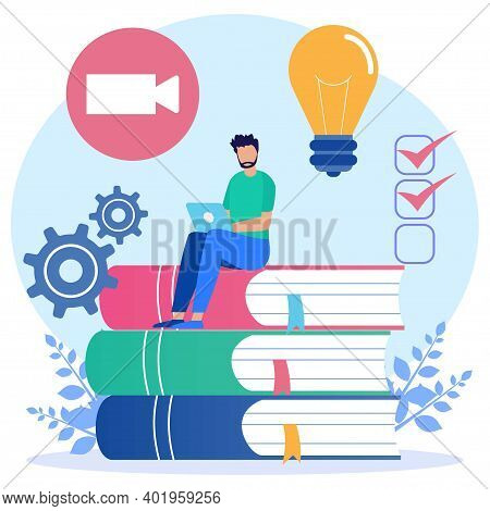 Modern Vector Illustration. The Smart Young Man Sat On A Pile Of Books And Used His Laptop. E-learni