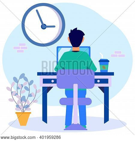 Cartoon Flat Illustration Vector Busy Business Man Or Freelance Worker Working Laptop Sitting At Wor