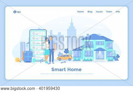 Smart Home With Central Control System. House Automation Concept, Mobile App. The Couple Monitors In