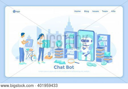 Chatbot, Chatting, Customer Support, Help Services, Ai Assistant. Woman And Man Ask Questions, Talki