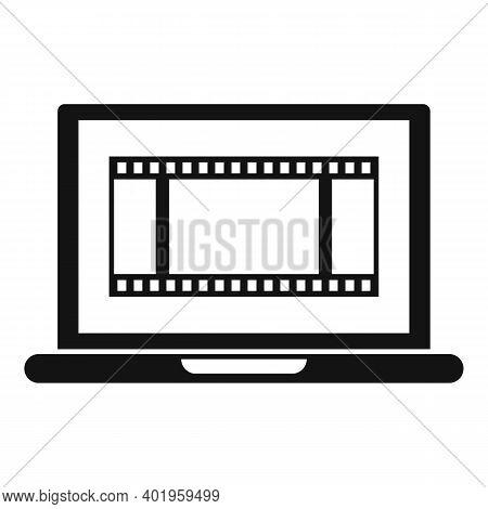 Video Edit Laptop Icon. Simple Illustration Of Video Edit Laptop Vector Icon For Web Design Isolated