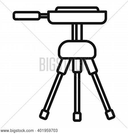 Video Camera Tripod Icon. Outline Video Camera Tripod Vector Icon For Web Design Isolated On White B