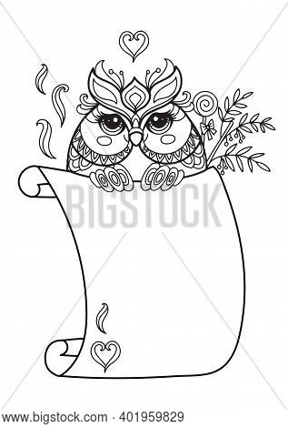 Cute Owl With Scroll Sign Template. Monochrome Vector Kawaii Illustration With Animal In Tangle Styl