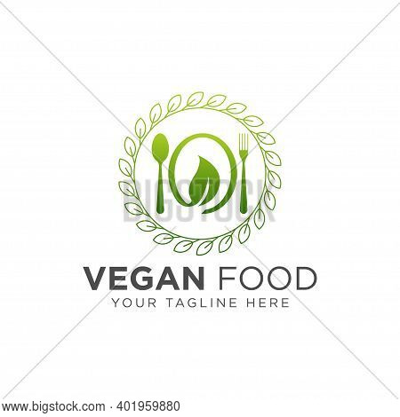 Organic Healthy Food - Vector Logo Template Concept Illustration In Flat Style. Spoon, Fork, Plate A