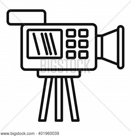 Cameraman Video Camera Icon. Outline Cameraman Video Camera Vector Icon For Web Design Isolated On W