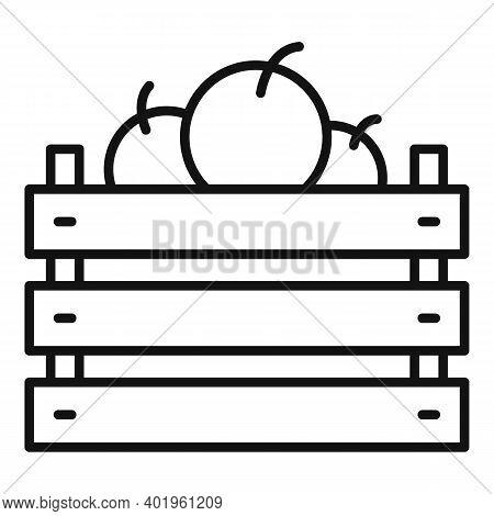 Full Apple Basket Icon. Outline Full Apple Basket Vector Icon For Web Design Isolated On White Backg